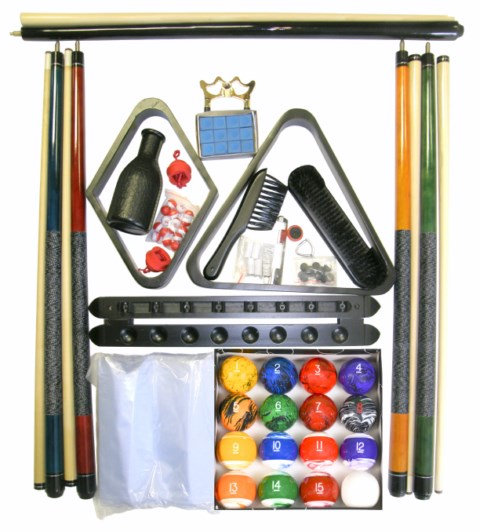 Billiard Pool Table Accessory Kit With Tech Marble Style Ball Set Black Finish